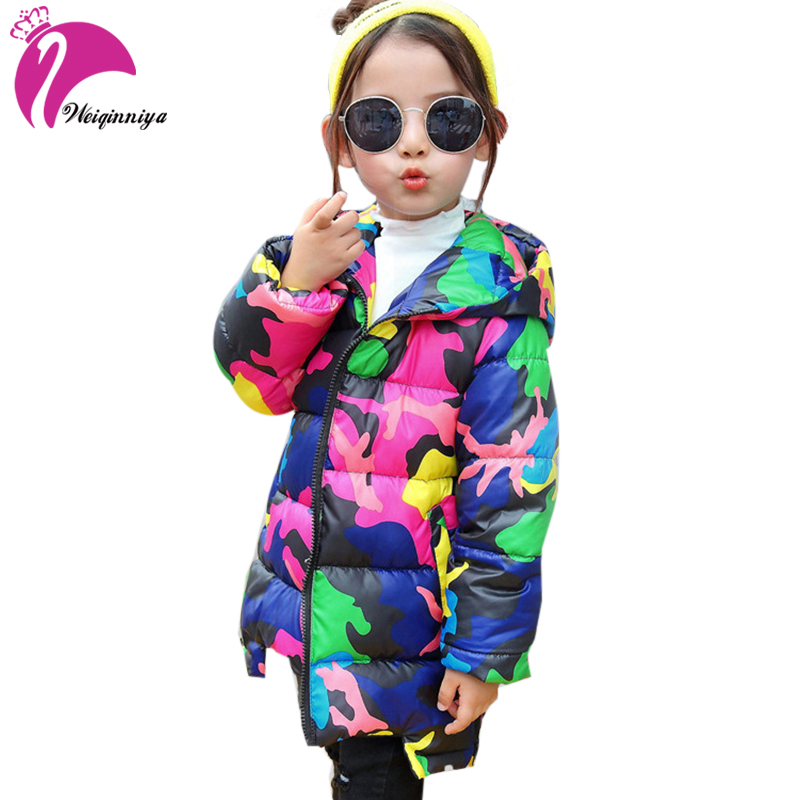 e25682eed weiqinniya Girls Down Parkas Jackets Winter Down Coat For Girl Fashion  Children Camouflage Hooded Jacket For Girl 2018 Kids Coat