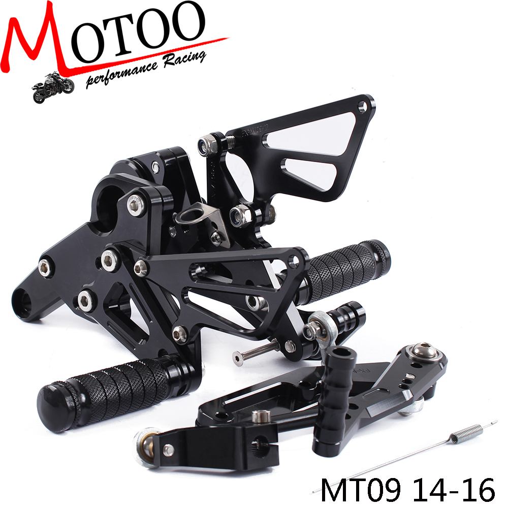 Full CNC Aluminum Motorcycle Footrest Footpeg Pedal  Rearset Rear Set  Foot Pegs For YAMAHA MT-09 MT09 MT 09 2014-2016