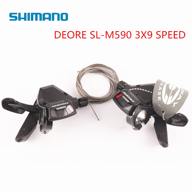 <font><b>Shimano</b></font> <font><b>DEORE</b></font> SL-<font><b>M590</b></font> 9S 27S 9 Speed bike Shifter Lever Trigger MTB Bicycle Parts shifters with Cable one pair image