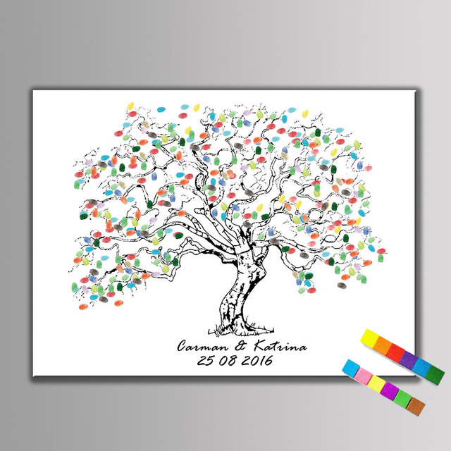 Aliexpress buy 1 set diy fingerprint tree guest book sign in 1 set diy fingerprint tree guest book sign in book wedding party birthday wedding canvas painting sciox Images
