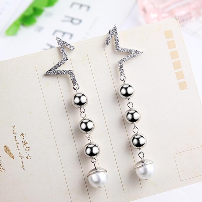 New Shiny Half Star Long Ball Chain Drop Dangle Earrings For Women