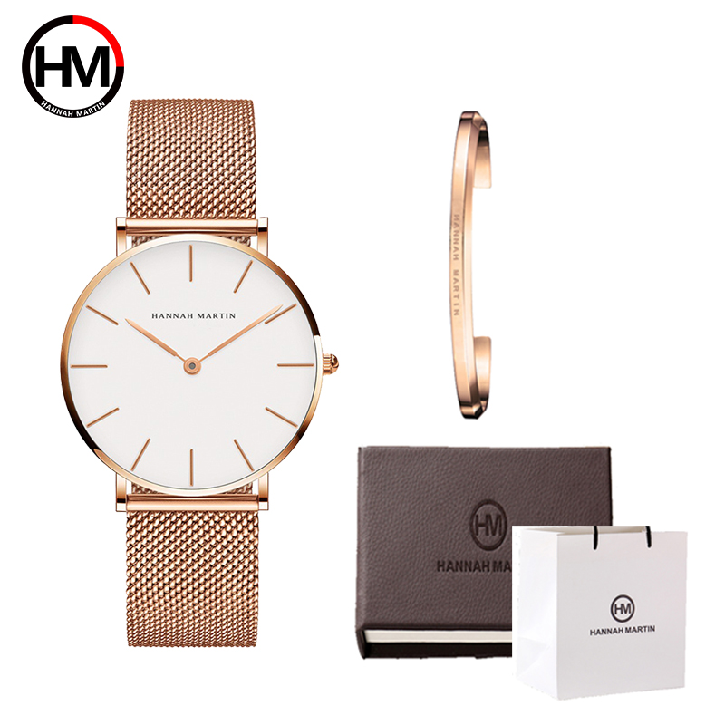 High Quality Stainless Steel U-shape Bracelet Boxes Watches Set FemaleLuxury Women Quartz Watch Bangle Set For Valentine's Gift