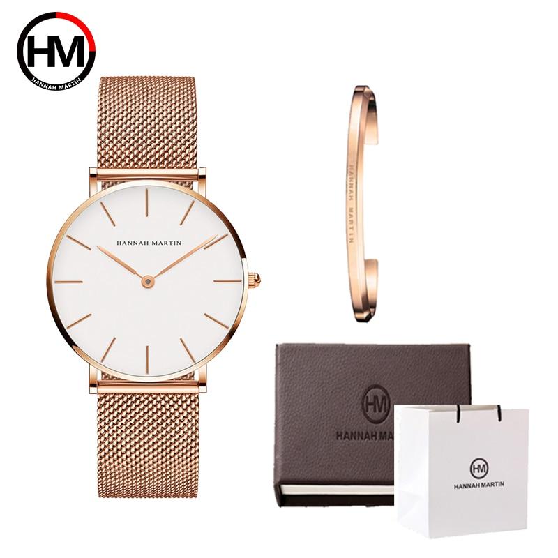 High Quality Stainless Steel U-shape Bracelet Boxes Watches Set FemaleLuxury Women Quartz Watch Bangle Set For Valentine's Gift