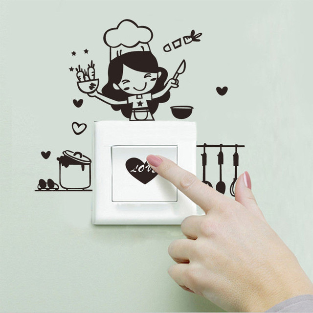 DIY Cooking Woman Switch Sticker For Kitchen Light Switch Sticker Cartoon  Cooking Tool Wall Sticker Decal