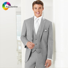 Gray Wedding Men Suits Groom Tuxedos 3 Pieces (Jacket+Pants+Vest) Bridegroom Suits Slim Best Man Blazer Prom Wear цена