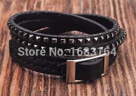 Black Double Wrap Leather...