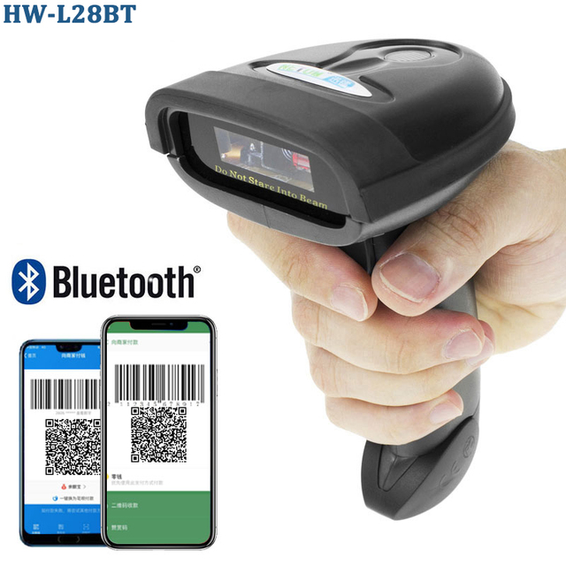 HW-L98 Portable Wireless Barcode Scanner And HW-L28BT Bluetooth 1D/2D QR PDF 417 Bar Code Reader Support Android iOS iPad Window