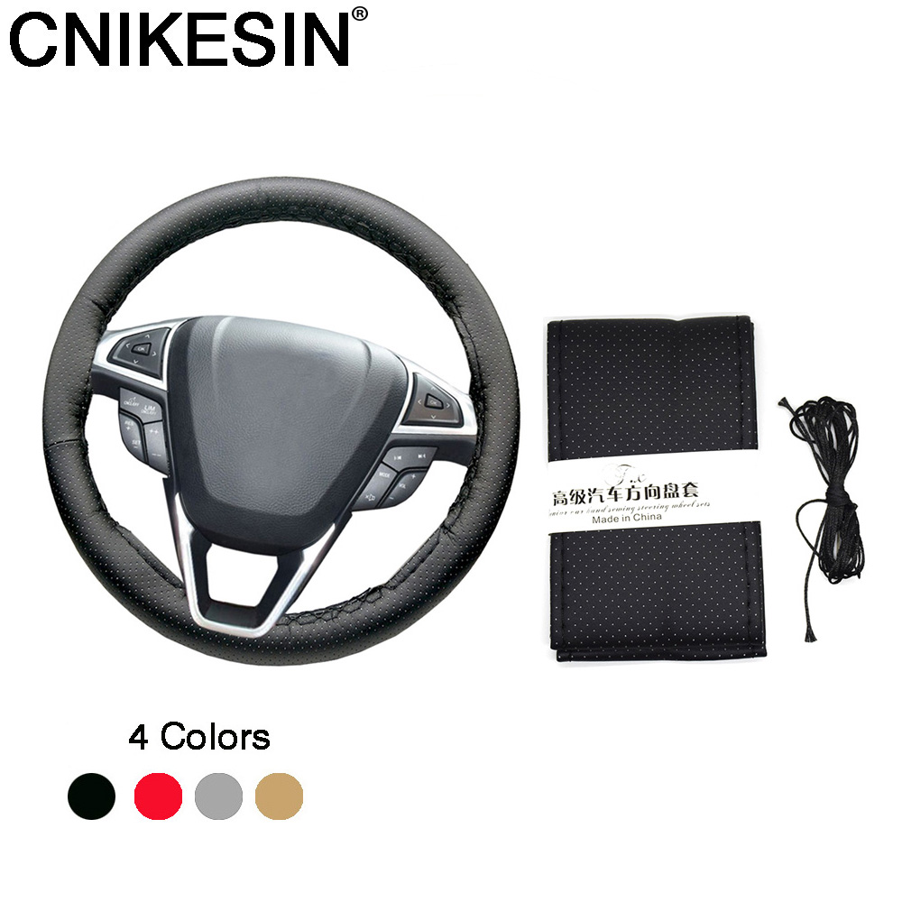 CNIKESIN 1PCS Car Universal DIY Steering Wheel Hubs Car Steering Wheel Cover Needles and Thread Artificial leather Car styling