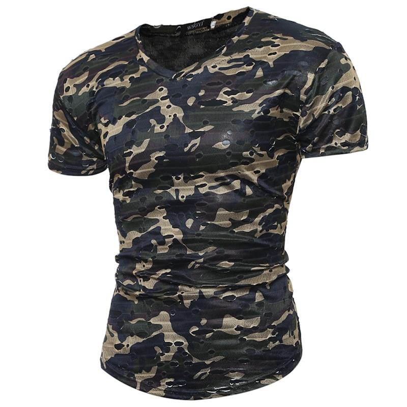 2017 Estate Top Tee Moda Militare Camouflage Manica Corta T-Shirt - Abbigliamento da uomo