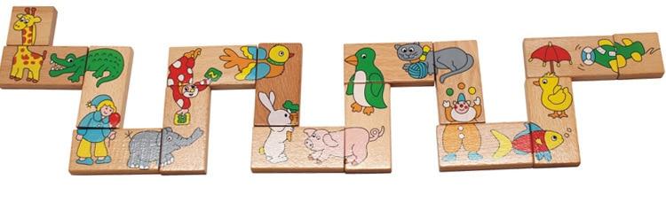 Mainan Bayi Haiwan Haiwan Domino 15Pcs Blok Bangunan Mainan Kayu - Mainan pembinaan - Foto 3