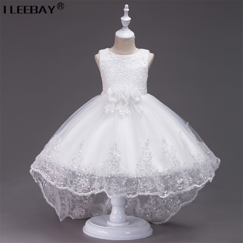 2018 Princess Flower Girl Wedding Party Dress Kids Bow Sleeveless Trailing Lace Tulle White Tutu Dress Girls Toddler Dress