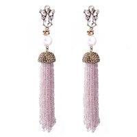 מותג יוקרה הגעה חדשה אופנה ציצית חרוזים ארוכים סיטונאי סימולציה פרל עגילים עבור תכשיטי נשים