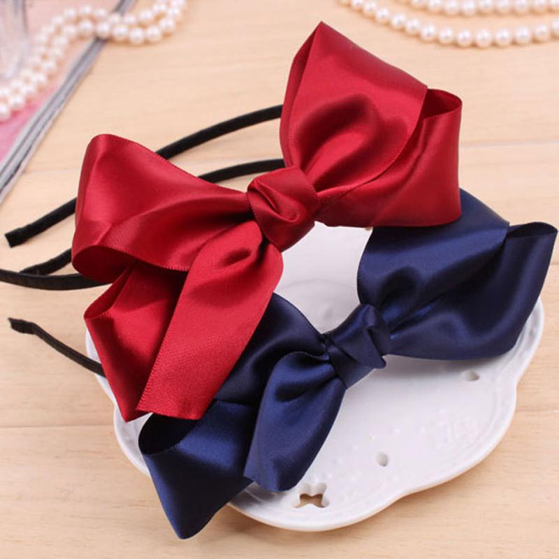 Double Silky Ribbon Cloth Knotted Bow Thin Black Band  Hairband Fashion Headwear Gentler Hair Accessories