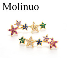 Molinuo latest delicate minimal multicolor geometric stars gorgeous jewelry paved color cz stud earrings 2019