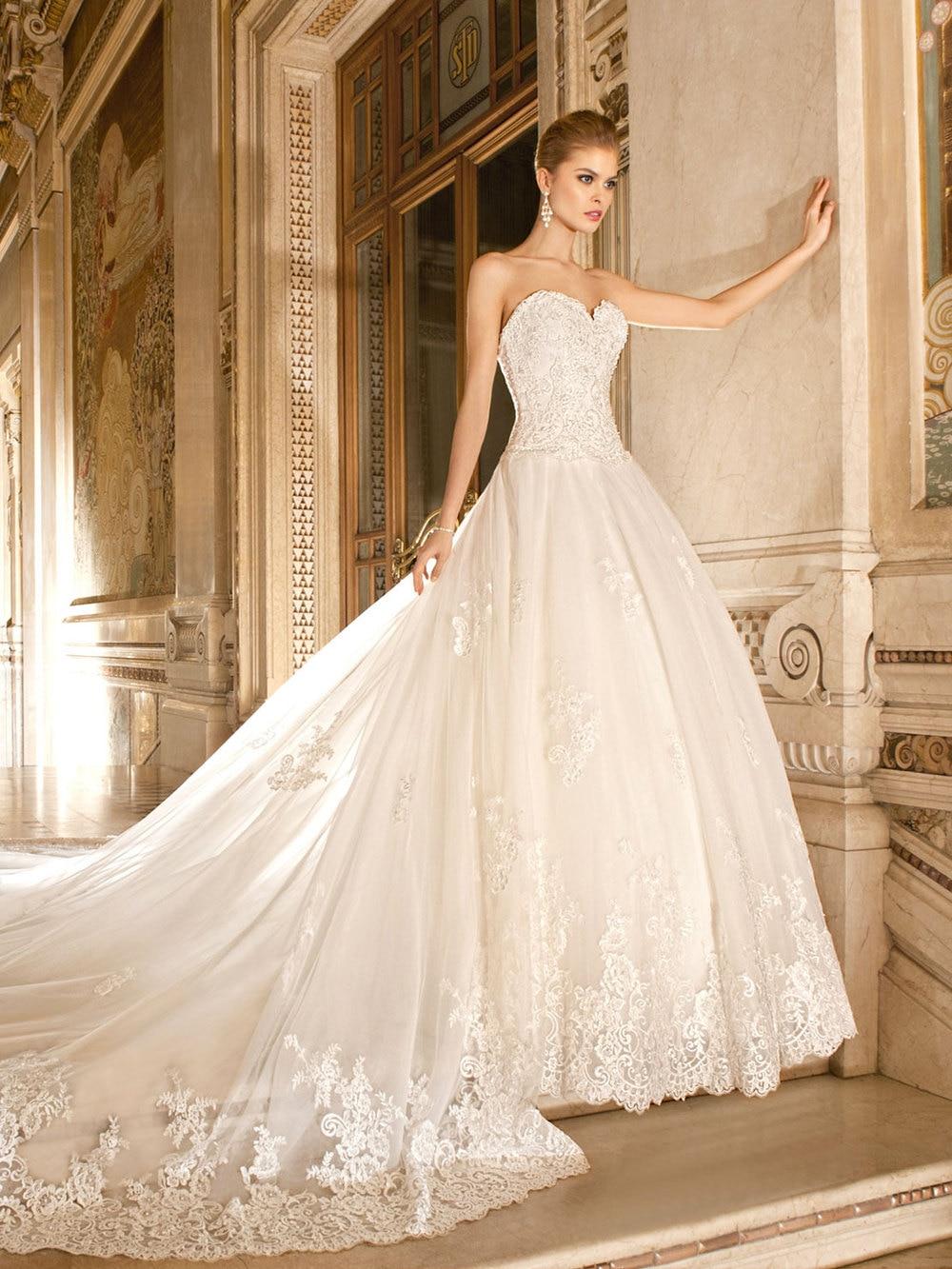 lace aline wedding dress with train