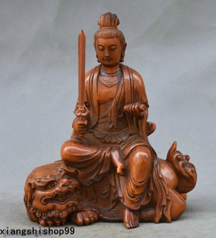 Statue d'artisanat en bois de buis chinois sculpture à la main Wenshu Manjushri Bodhisattva Statue de Lion