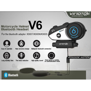 Image 2 - Angielska wersja zestaw słuchawkowy Bluetooth do kasku motocykl Vimoto V6 wielofunkcyjne słuchawki Stereo do telefonów komórkowych i radiotelefonów GPS