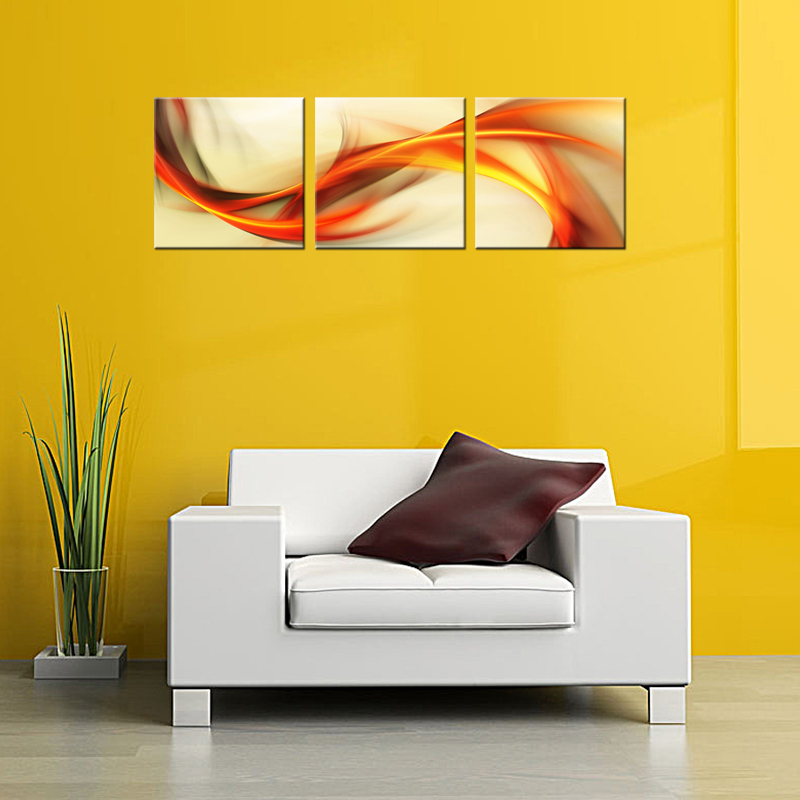 3 Picture Combination Wall Art Painting Abstract Colorful Ribbon ...