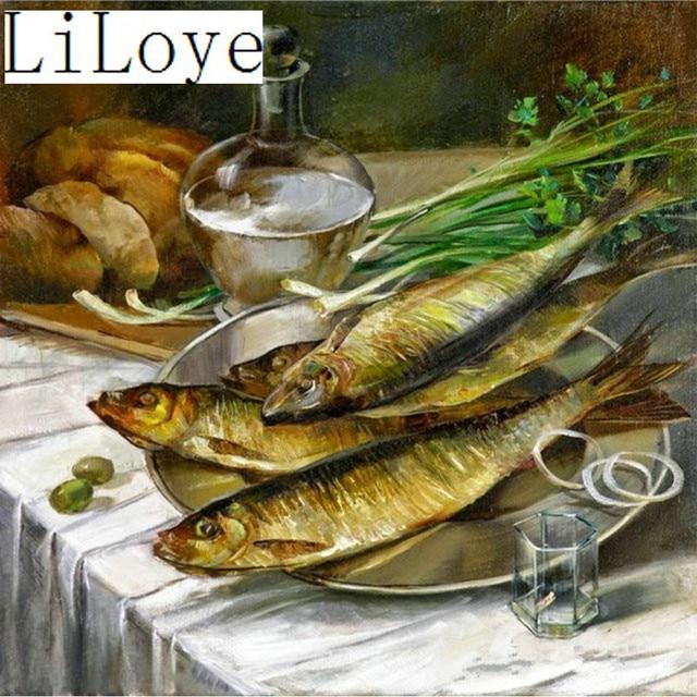 Li Loye Berlian Bordir Peralatan Dapur Ikan 5d Lukisan Cross Sch Mosaik Rhinestones Decor