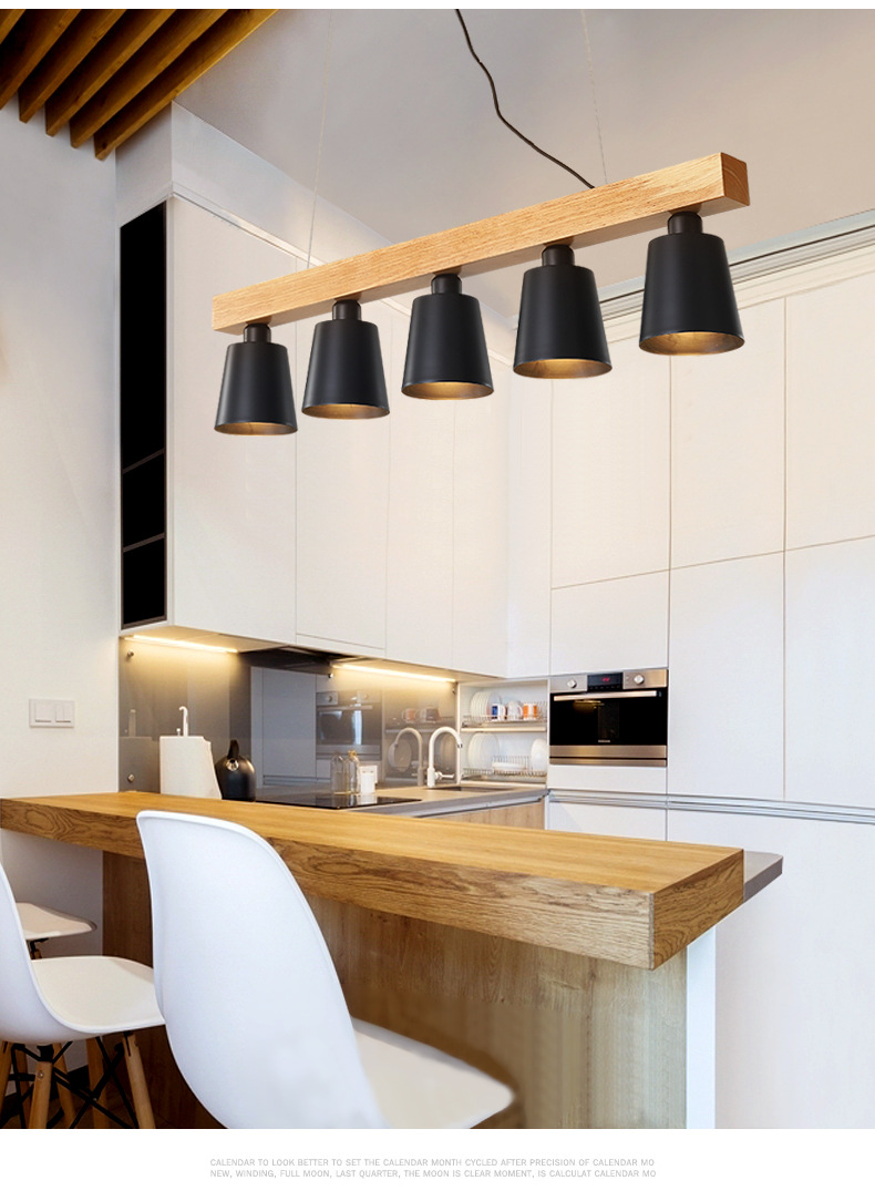 Modern Pendant Lights Wood Led Kitchen Lamp Dining Room