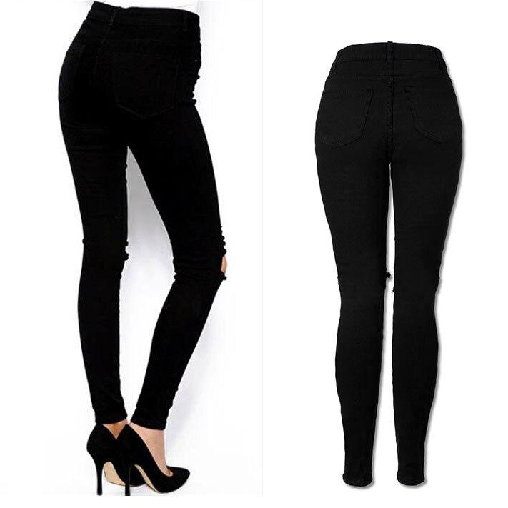 Women Cool Ripped Knee Cut Leggings Jeans High Waist Skinny Long Hole Jeans Pants Slim Pencil Plus Size Trousers Black Yl-new #3