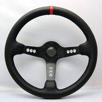New Universal Fits Racing Sport 103 320mm Suede Deep Dish Alloy Steering Wheel