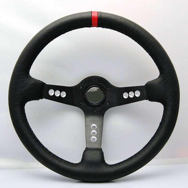 Universal Fits Racing Sport 103/320mm PU Leather Deep Dish Alloy Steering Wheel 320mm steering wheel 630mm rack