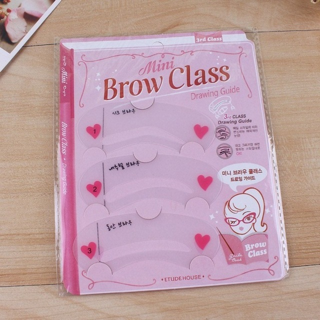 24pcs/lot Mini Brow Class Eyebrow Stencils  Reusable Eyebrow Drawing Guide Card Brow Template (3PCS/PACK, 8 PACKS/LOT) 1