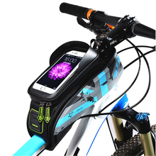 цена на ROCKBROS MTB Road Bike Bag Rainproof Touch Screen Bicycle Top Front Tube Frame Bag 5.8/6.0 Inch Phone Case Cycling Accessories