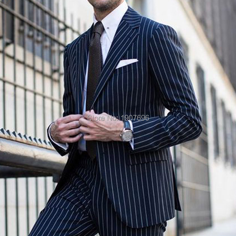 Two Piece Pinstripes Wedding Men Suits for Groom Tuxedos Notched Lapel Formal Evening Party Jacket Pants Tailor Made Blazer in Suits from Men 39 s Clothing