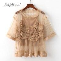 Self Duna 2018 Summer Women Mesh Blouse Lece White Black Khaki Floral Crochet Short Sleeve Sexy