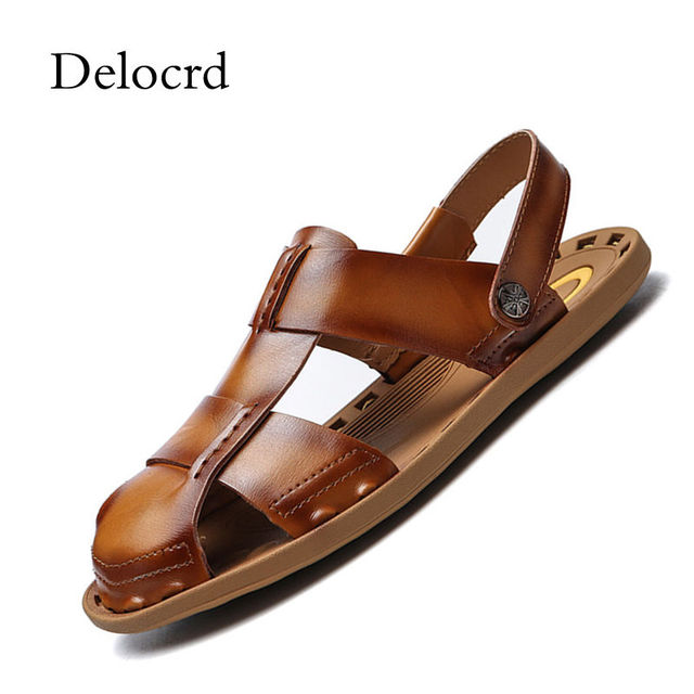 deaa7f9b0a71 Luxury Roman Men Beach Sandals Cow Leather Closed Toe Comfortable Sneaker  Beach Elastic Slippers Native Rubber Sandals For Men