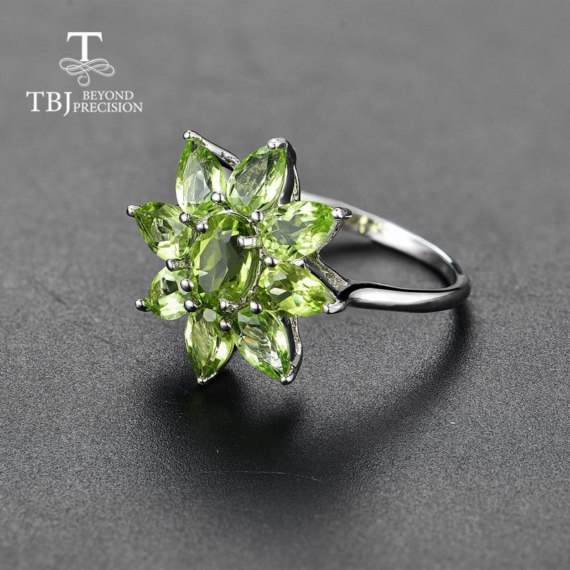 Tbj, natural Peridot แหวนดีสีอัญมณี 925 เงินแท้ออกแบบใหม่เครื่องประดับเหมาะสำหรับสาวพักผ่อนวันหยุดสวมใส่-ใน ห่วง จาก อัญมณีและเครื่องประดับ บน   3