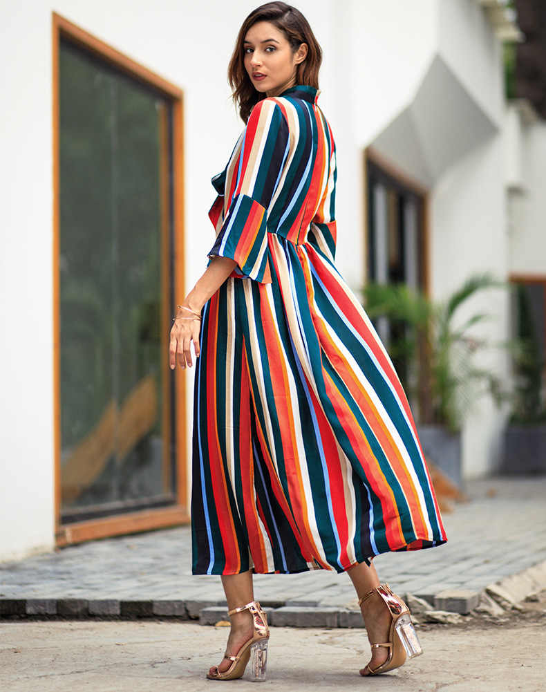 2be77b42bef24 2019 Sale New Vadim Plus Size Maxi Dress Women Free Shipping 2019 European  Style Long Sleeve Rainbow Stripes Split Midi Dress
