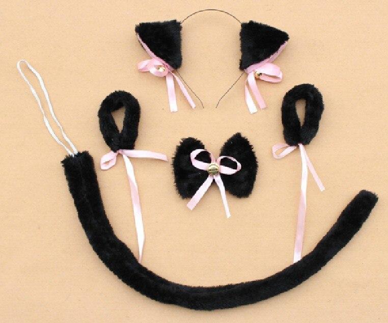 Косплей-Одежда плюшевая черный neko уши ободок с ушками галстук-бабочка браслет с хвостом животного декор для Хэллоуина, вечеринки предметы для вечеринки
