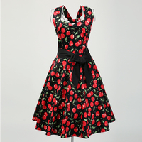 Candow Look Frauen Floral Red Print Big Größe UK Online speichert Vintage Rockabilly Inspiriert Club Sexy Ausgehen Kleider mit gürtel
