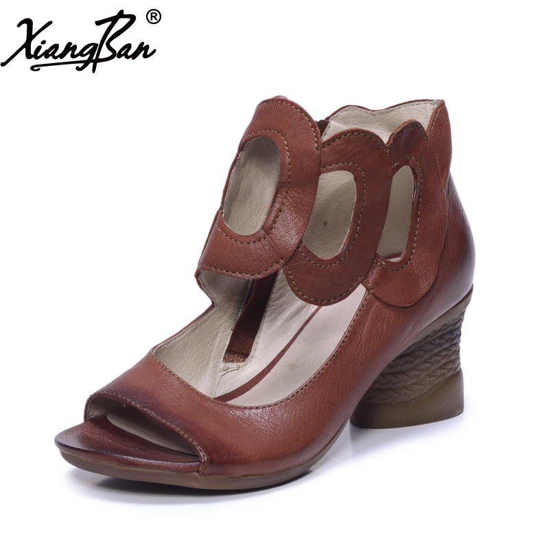 High heel women sandals open toe thick heel women gladiator sandals casual summer shoes genuine leather brand xiangban 2017 genuine leather gladiator sandals women personality mid heel sandals rome summer female shoes casual