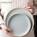 Японская одноцветная матовая керамическая посуда бытовая тарелка для стейка плоская тарелка большая белая тарелка