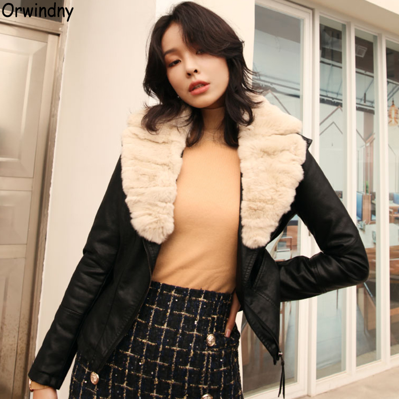 Orwindny Autumn And Winter Thicken Warm   Leather   Coat Women Real Fur Collar   Leather   Clothing Female Slim Short Jackets Ladies