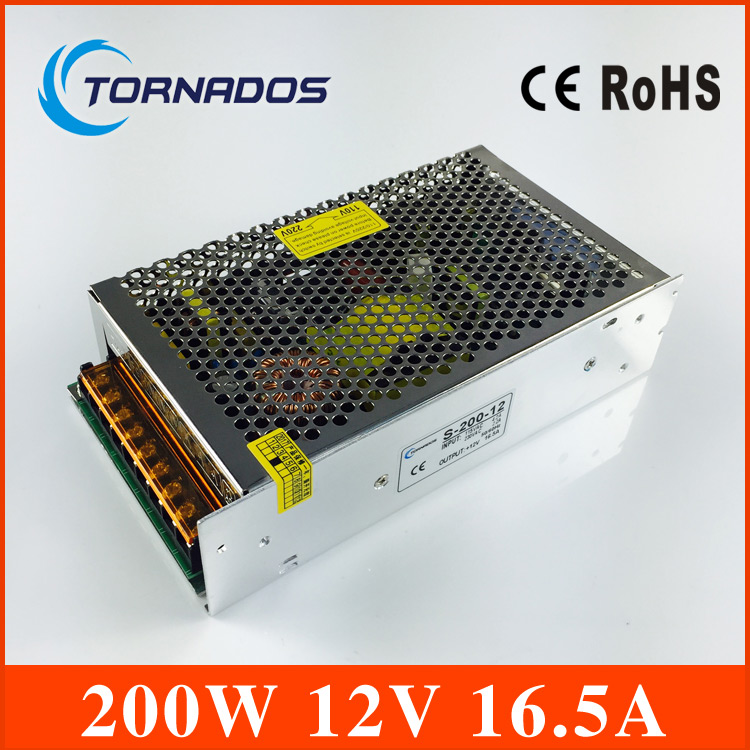 power supply 12V 16.7A 200W switching Power Supply Driver For LED Strip Light Display transformer 12v free shipping 90w led driver dc40v 2 7a high power led driver for flood light street light ip65 constant current drive power supply