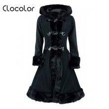 Clocolor женский, черный с капюшоном зимнее шерстяное пальто длинный рукав осень-зима теплые женские длинные плащи Пиджаки Задней Кружева до Шерстяное пальто