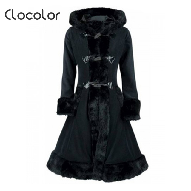7aef9860ec2e0 Clocolor Women Black Hooded Winter Wool Coat Full Sleeve Autumn Winter Warm  Female Long Cloaks Outwear Back Lace Up Wool Coat