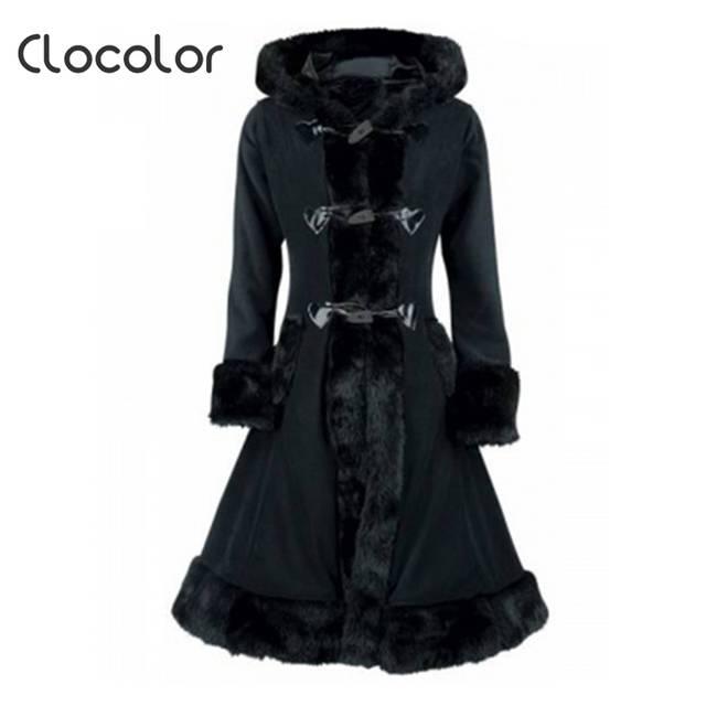 30a4e4cdc Clocolor Women Black Hooded Winter Wool Coat Full Sleeve Autumn Winter Warm  Female Long Cloaks Outwear Back Lace Up Wool Coat