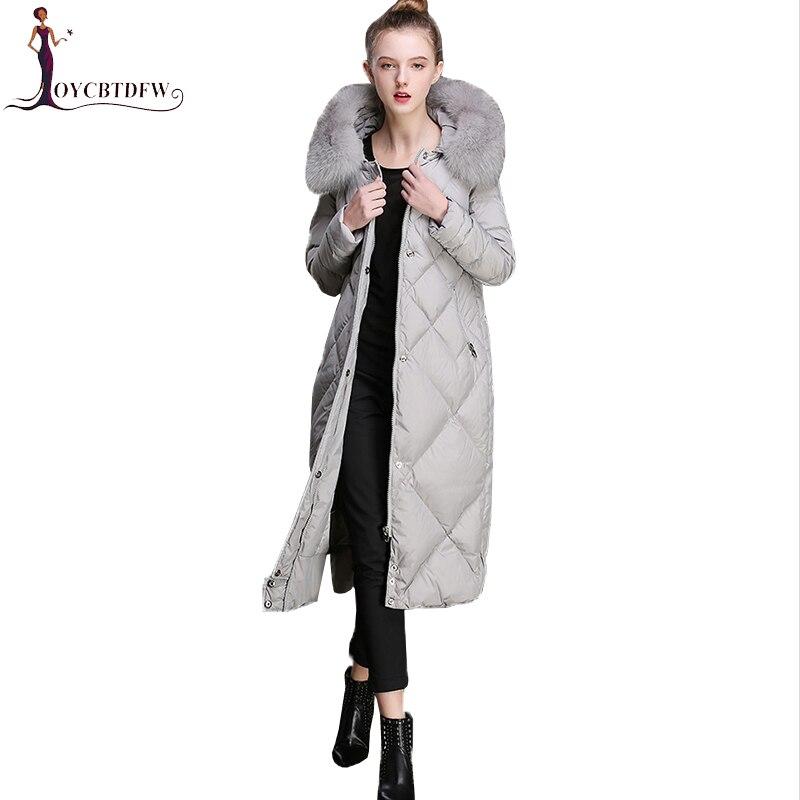 Fashion Winter   Coats   High Quality   Down     Coat   2018 Female Long Outerwear Thicken Warm Women Fox fur collar   Down   Parkas   Coat   XY355