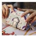2016 Novas Mulheres frescas Carteira Encantador Dos Desenhos Animados do Unicórnio Impresso Carteira hasp Couro Macio Bolsa Da Embreagem Saco Da Moeda do Cartão Senhora Curta presente