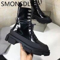 SMONSDLE/Новые черные женские ботильоны из натуральной кожи с круглым носком, на шнуровке, на массивном каблуке, женские осенне зимние ботинки,