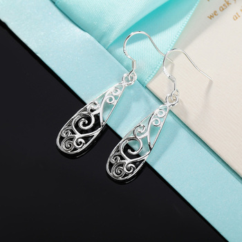 Christmas gift hot silver color Retro charms women Lady flower stud , earring jewelry best gift lowest price LE018 1