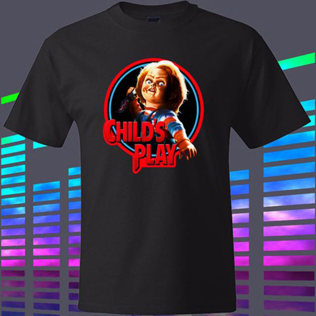 fa43af3c New Chucky Child's Play Horror Movie Men's Black T-Shirt Size S To 2XL High  Quality T Shirt 100% Cotton for Man Shirts
