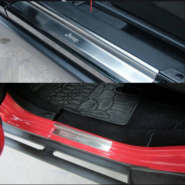 4Pcs/Set Auto Accessories Stainless Steel Scuff Plate Pedal Door Sill Entry Guard For Jeep Wrangler JK  2007-2016 Car Styling