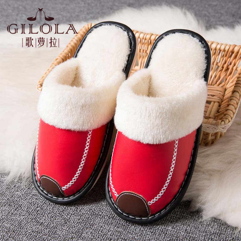 Plush Warm Women Winter Home Slippers Indoor Bedroom Loves Couple Shoes Cartoon Home Shoes Soft Warm Slippers Red #Y0667790Y